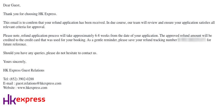 HK Express refund application